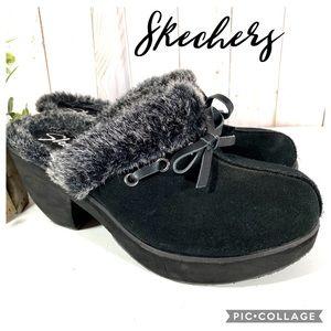 Skechers faux fur suede clog mules black 7